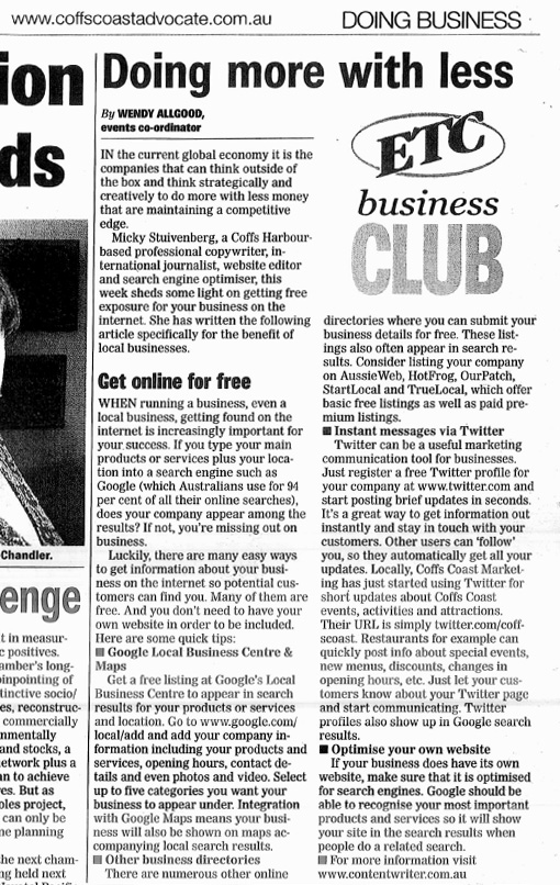 Get your biz online for free - newspaper article 2009