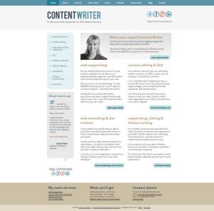 Screenshot of my new Content Writer website (2015)